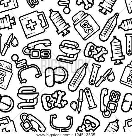 Medicine seamless pattern with outline silhouettes of pills and capsules, stethoscopes and blood test tubes, syringes and thermometers, first aid kits and pipettes, poison bottles with skull and crossbones, symbols of pharmacy with bowl and snake