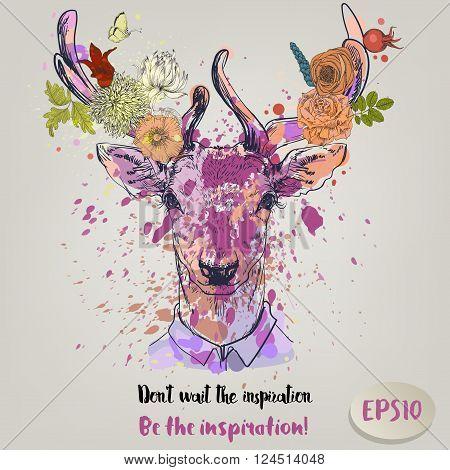 deer fashion colorful character portrait - vector illustration