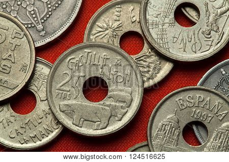 Coins of Spain. Bulls of Guisando in Avila, Castile and Leon, Spain depicted in the Spanish 25 peseta coin (1995).