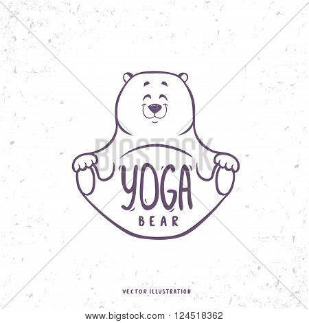 Character cute and beautiful bear practice of yoga. Yoga logo with bear in yoga asana