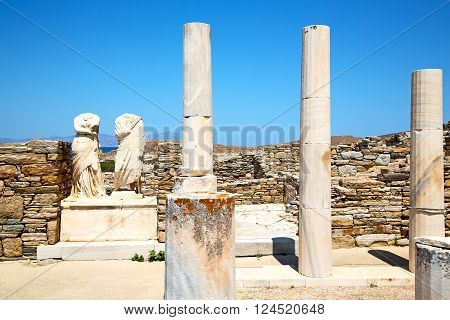 Archeology  In Delos Greece The   And Old Ruin