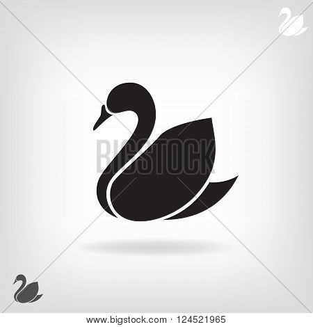 Stylized silhouette of a Swan on a light background.  Logo design for the company.