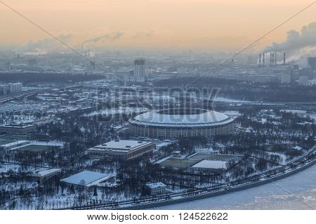 Luzhniki sport complex during frosty winter day in Moscow, Russia