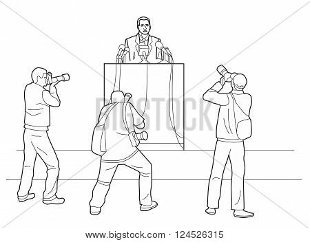 Orator stands behind a podium with microphones. Speaker makes a report to the public. Photographers take pictures. Black vector illustration isolated on white background