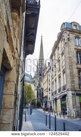 Bordeaux France - March 25 2016. Belltower of Basilica of St. Michael.
