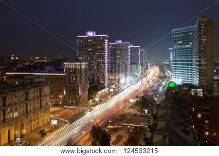 Beautiful Highway New Arbat at summer night in Moscow, long exposure