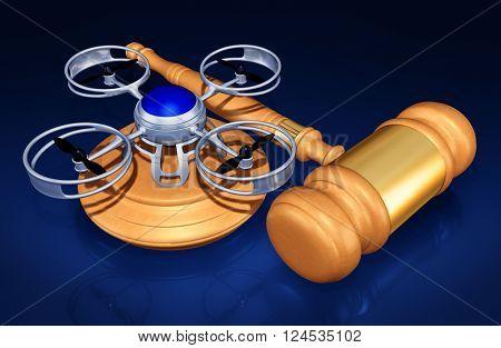 Aerial Drone Legislation Legal 3D Illustration Concept
