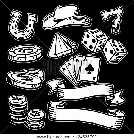 Casino set symbols and stetson. Black and white vintage vector illustration on black background for label poster web icon banner