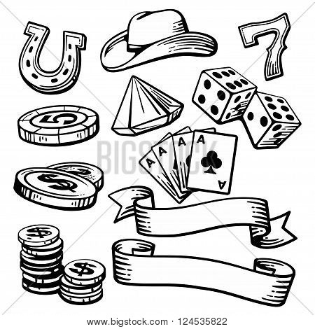 Casino set symbols and stetson. Black and white vintage vector illustration on white background for label poster web icon banner