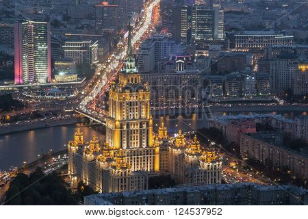 Ukraine hotel and New arbat street at night in Moscow, Russia, top view