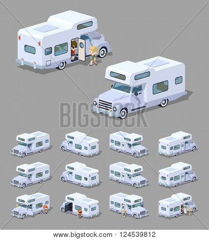 White motor home. 3D lowpoly isometric vector illustration. The set of objects isolated against the grey background and shown from different sides