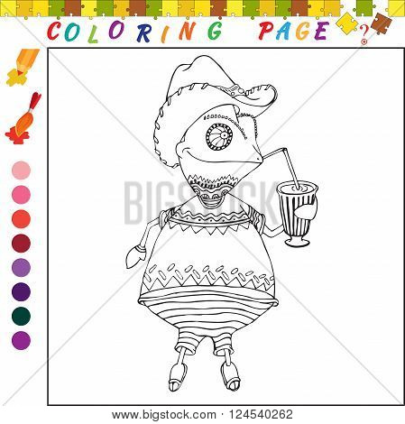 Coloring book with chameleon. Black and white outline illustration for coloring. Visual game for kids and preschool childrens. Funny image for colouring drawing poster