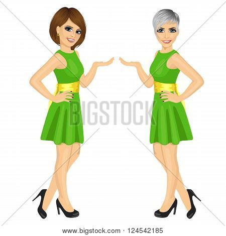 Two beautiful professional fair hostess women showing something isolated over white background