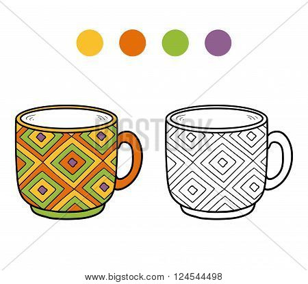 Coloring Book, Coloring Page, Cup