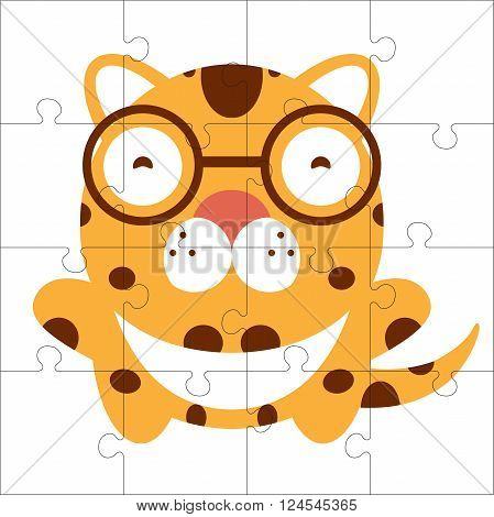 Vector puzzle game for children. Puzzle with cat. Jigsaw game for kid. Visual rebus puzzle educational game for preschool child poster