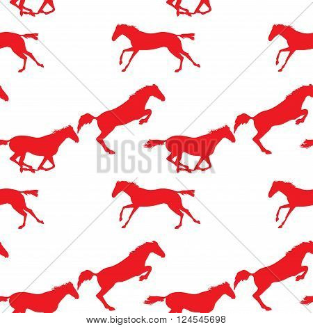 Vector seamless pattern with horses. Red horse seamless pattern on isolated background. Running and jumping herd of horses. background with Equine sports theme