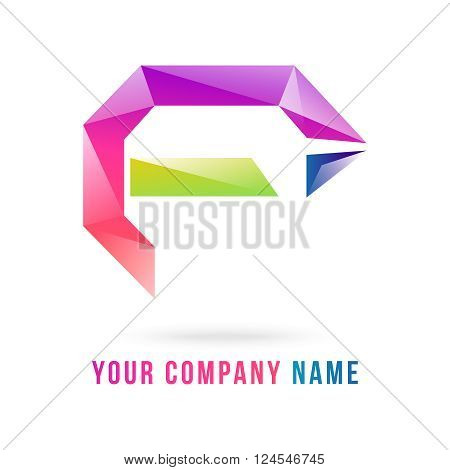 Abstract Polygon f letter logo made by adobe illustrator can re sizes up to your target useful for which letter starting with f