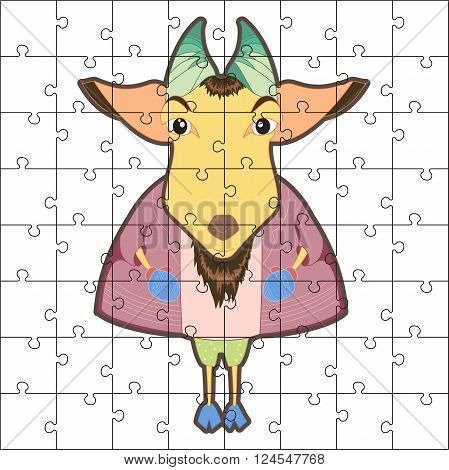 Vector puzzle game for children. Puzzle with goat. Jigsaw game for kid. Visual rebus puzzle educational game for preschool child