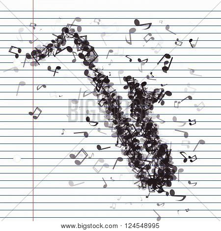 Saxaphone Made From Different Music Notes