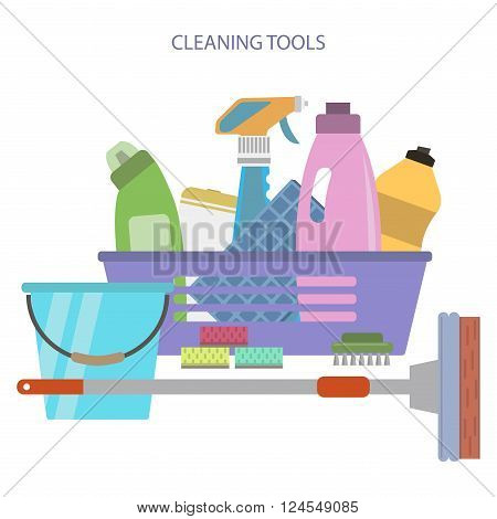 Cleaning tools and equpment. Flat style vector set