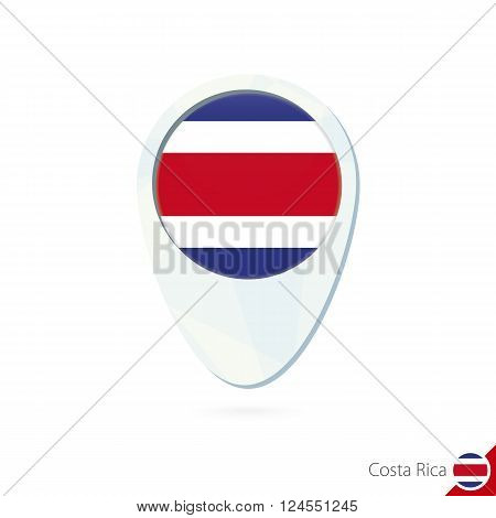 Costa Rica Flag Location Map Pin Icon On White Background.