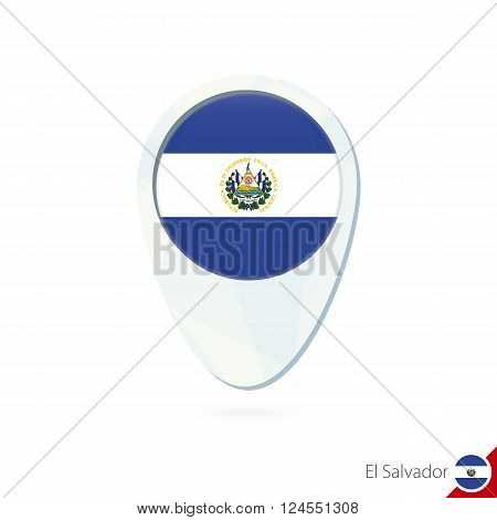 El Salvador Flag Location Map Pin Icon On White Background.