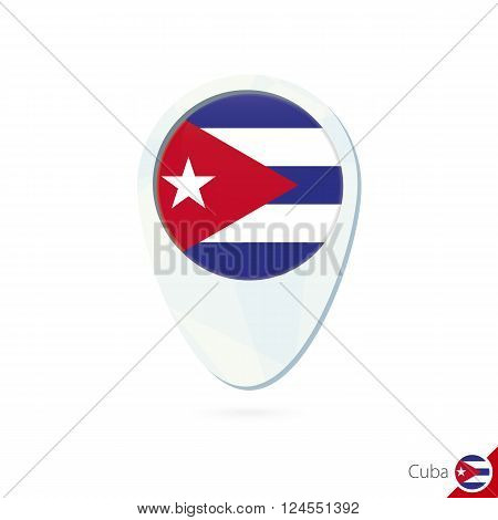 Cuba Flag Location Map Pin Icon On White Background.
