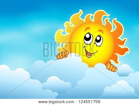 Cloudy sky with lurking sun 2 - eps10 vector illustration.