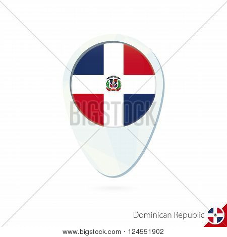 Dominican Republic Flag Location Map Pin Icon On White Background.