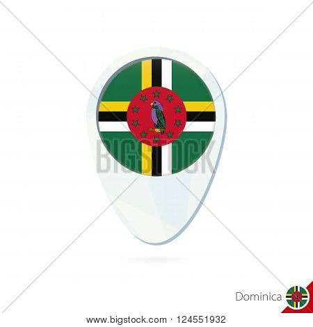 Dominica Flag Location Map Pin Icon On White Background.