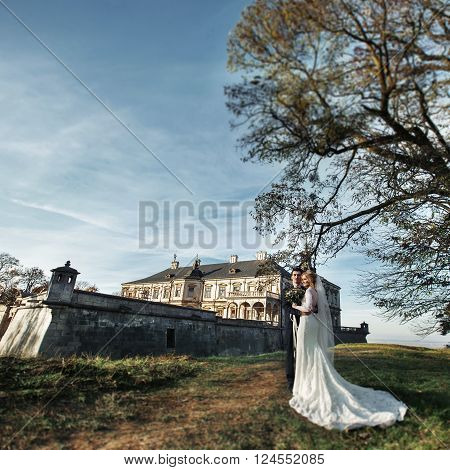 Beautiful Fairytale Newlywed Couple Hugging Near Old Medieval Castle