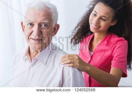 Senior Man And Helping Hand