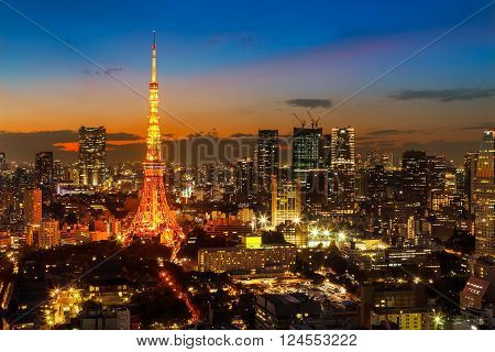 Tokyo Tower in with Tokyo Citysacpe in Twilight