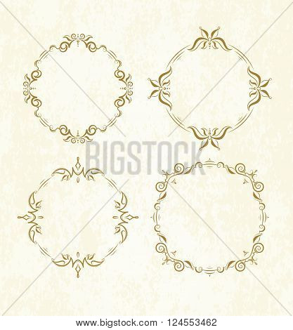 Set Of 4 Elegant Vector Round Frames On Old Paper Background