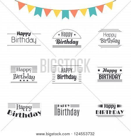 Set Of Happy Birthday Greeting Cards. Birthday Theme Labels. Typography Design Elements. Postcard