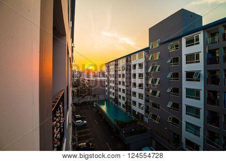 Condominium Estate With Sunset In The Center Of Bangkok