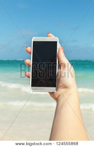 Woman Holds Phone In Hand For Taking Photo