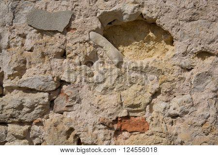 Detail Of Old Brick Wall, Broken Old Ruinous Texture