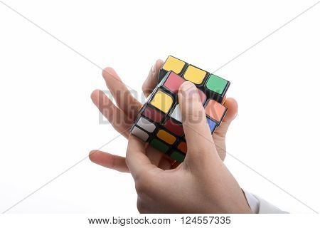Rubik Cube in the hand of a child