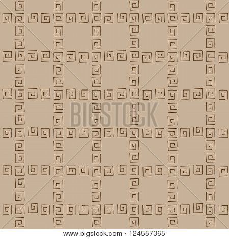 Seamless pattern brown curlicues on brown background