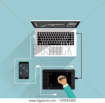 Graphic design workspace tablet and laptop. Graphic designer, studio graphic elements, computer laptop, workspace design, tablet graphic design, workplace vector illustration