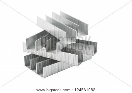 Steel staples isolated on white background, closeup
