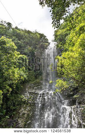 View of a waterfall at Kapahulu in Haleakala National Park, Maui, Hawaii