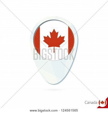 Canada Flag Location Map Pin Icon On White Background.