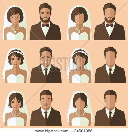 wedding face avatar, vector groom and bride portrait