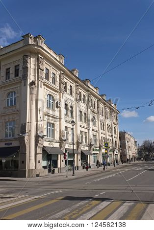 MOSCOW, RUSSIA - MARCH 21, 2016: View of the former apartment house bread merchant Rakhmanov on Pokrovka Street 19 19-20 century architect P.A. Drittenpreys