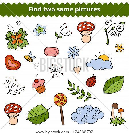 Find Two Same Pictures. Vector Set Of Natural Items