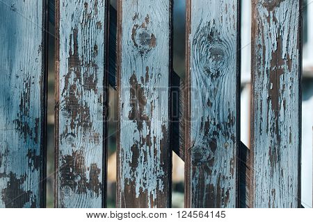 Blue Old Distant Boarded Fence