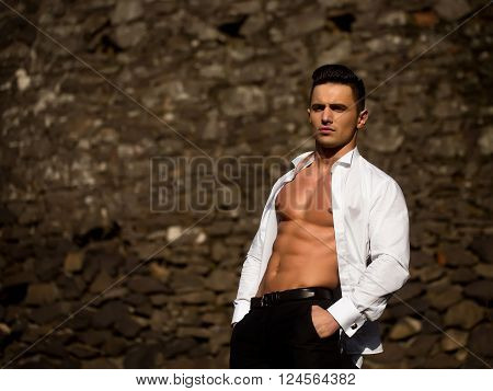 Man In Shirt Gaped Open