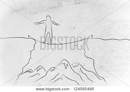 Man Tight Rope Walking Over A Cliff